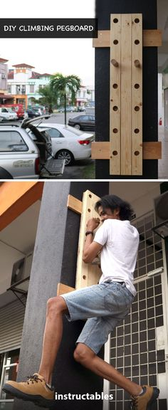 DIY Climbing Pegboard  #woodworking #exercise