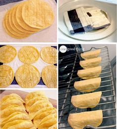 How to Make Your Own Baked Taco Shells- Working with 6 tortillas at a time, wrap in a barely damp cloth or paper towel and microwave on High until steamed, about 30 seconds. Lay the tortillas on a clean work surface and coat both sides with cooking spra I Love Food, Good Food, Yummy Food, Mexican Dishes, Mexican Food Recipes, Baked Taco Shells, Homemade Taco Shells, Taco Bake, Comida Latina