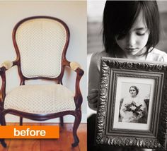 Last week I posted about Joy Cho's photo album of her daughter Ruby's first year. Today I'm sharing another project that captures memories in a completely different way. Click to see how this chair was transformed into a cherished memorial to family.