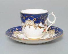 A521 Teacup and saucer, porcelain, made in Staffordshire, England, c. 1840-1850 - Powerhouse Museum Collection