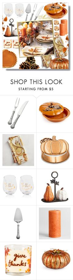 """""""Autumn Table"""" by queenvirgo ❤ liked on Polyvore featuring interior, interiors, interior design, home, home decor, interior decorating, Wallace, Martha Stewart, Pier 1 Imports and Kate Aspen"""