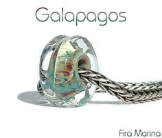 GALAPAGOS - Island/Ocean colors Glass Lampwork Bead European Charm Fits Troll by firamarina