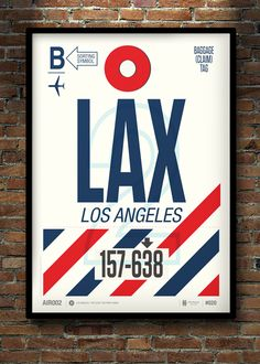 Flight Tag Prints - LA by Neil Stevens Print Shop
