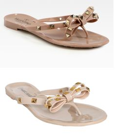 9116ab51f2ed63 Look For Less  Valentino Studded Bow Jelly Sandals