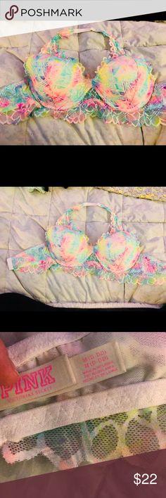 VS halter bra VS halter bra. Never worn, I've lost weight. Base color is white with multi-neon colors. Adjustable strap. PINK Victoria's Secret Intimates & Sleepwear Bras