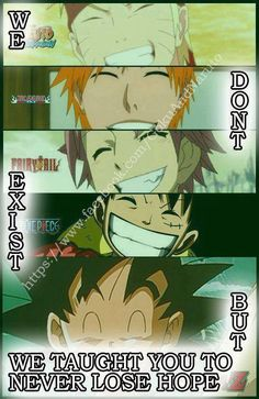 "I would DIE if one of them smiled and said ""Don't give up"" especially Ichigo and Naruto <3////////////<3"
