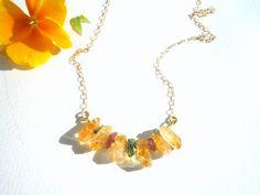 Golden Madeira Citrine and Watermelon Green Turmaline gemstones , chain necklace.Chain ,gemstone necklace.Rough Gemstone necklace.