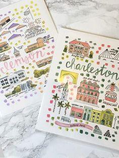 Charleston Map Print Illustration | Sassy Shortcake Boutique | sassyshortcake.com