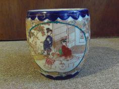Vintage Japanese Geisha Girls Porcelain Biscuit Jar Blue Hand Painted Japan on eBay #JapanesePorcelain #Geisha #GeishaGirls