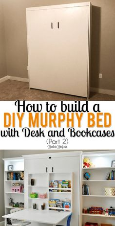 How to Build a DIY Murphy Bed with Desk and Bookcases (Part This DIY murphy bed with desk and bookcase combo is all made from inexpensive pieces! Includes Ikea Billy Bookcases and full plans for adding to your guest bedroom, office, or craft room. Murphy Bed Office, Build A Murphy Bed, Murphy Bed Desk, Murphy Bed Plans, Murphy Bed Frame, Full Murphy Bed, Billy Ikea, Ikea Billy Bookcase, Bedroom Office Combo