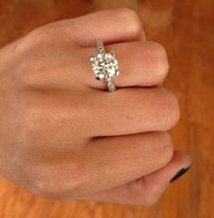 Dream Ring (with a cushion cut center diamond) Wedding Engagement, Wedding Bands, Engagement Rings, Wedding Ring, Wedding Jewelry, Perfect Wedding, Dream Wedding, To Infinity And Beyond, Looks Vintage