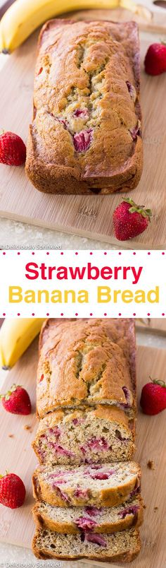 The BEST Strawberry Banana Bread This bread is a simple to make quick bread perfect for breakfast or as a snack I love banana bread but when you add fresh strawberries i. Just Desserts, Delicious Desserts, Yummy Food, Healthy Desserts, Strawberry Banana Bread, Strawberry Breakfast, Strawberry Snacks, Strawberry Ideas, Strawberry Dessert Recipes
