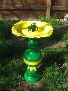 One of a Kind John Deere Birdbath or Birdfeeder & by ifoundthat