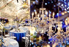 The Glam Outdoor Chandelier. White and Blue
