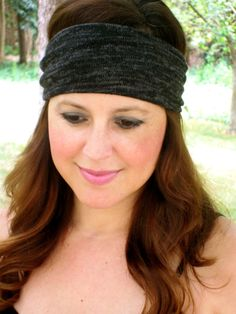 Black and Grey Wide Headband Knit Headband by ColorOnMaterial