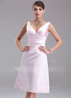 Empire V-neck Knee-Length Satin Bridesmaid Dress With Ruffle (007001054)