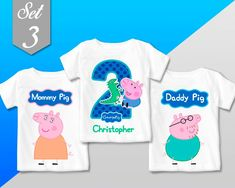 George Pig birthday shirt George Pig T Shirt Personalized 3rd Birthday Parties, Birthday Party Decorations, George Pig Party, Boy Birthday Pictures, Peppa Pig Birthday Cake, Peppa Pig Family, Ideas, Dinosaur Birthday Party, Ideas Party