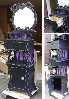 Nightmare before Christmas furniture - christmas bedroom Gothic Furniture, Funky Furniture, Home Decor Furniture, Furniture Stores, Goth Home Decor, Diy Home Decor, Nightmare Before Christmas Halloween, Halloween Diy, Horror Decor