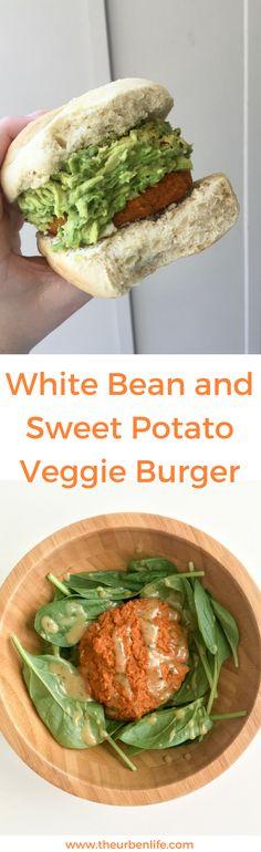 White Bean and Sweet Potato Veggie Burger Vegan Appetizers, Vegan Dinner Recipes, Vegan Dinners, Vegan Recipes Easy, Raw Food Recipes, Vegetarian Recipes, Vegetarian Options, Amazing Recipes, Lunch Recipes