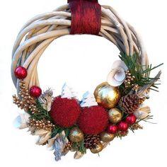 Karácsonyi kopogtató vessző alapon – bordó-arany