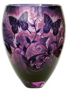 'Butterfly Foliage Amethyst' - Glass art by Jonathan Harris Purple Love, All Things Purple, Purple Glass, Shades Of Purple, Deep Purple, Magenta, Purple Stuff, Purple Art, Vases