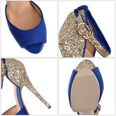 Beautiful Peep Toe Diamond Design High Heel Sandals In Pink,Blue And Black on Luulla