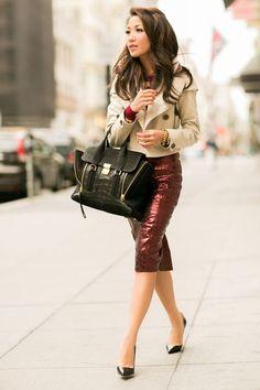 sissylikes: (via Fall Ready :: Metallic skirt | Dream wardrobe | Pinterest)