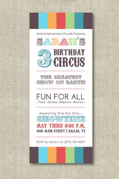 Items similar to Circus Birthday Invitations on Etsy Circus Birthday Invitations, Circus Theme Party, Carnival Birthday Parties, Birthday Bash, Birthday Music, Birthday Kids, Happy Birthday, Invitation Paper, Childrens Party