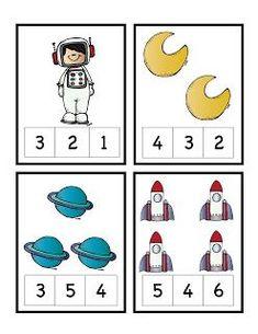 Preschool Printables: Rocket to the Moon Number Cards Space Theme Preschool, Space Activities, Preschool Science, Preschool Lessons, Preschool Learning, Kindergarten Worksheets, Classroom Activities, In Kindergarten, Teaching