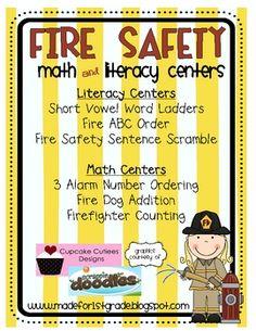 Fire Safety Math & centers literacy