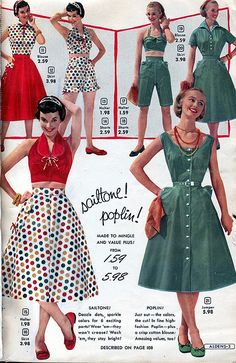 Wonderfully fun red, white and green summertime playsuit pieces. #vintage #1950s #summer #playsuits #fashion
