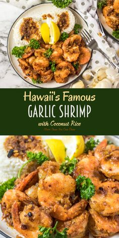 Hawaii's Famous Garlic Shrimp w/ Coconut Rice Hawaiian Garl. - Hawaii's Famous Garlic Shrimp w/ Coconut Rice Hawaiian Garlic Shrimp - Buttery Garlic Shrimp, Hawaiian Garlic Shrimp, Garlic Shrimp Recipes, Asian Shrimp, Shrimp And Rice Recipes, Shellfish Recipes, Seafood Recipes, Cooking Recipes, Cooking