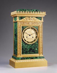 Mantelpiece Clock  Russia, 1830s  Malachite and bronze; mosaic and gilded