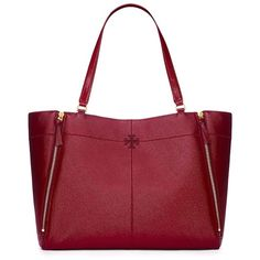 Tory Burch Ivy Patent Tote ($525) ❤ liked on Polyvore featuring bags, handbags, tote bags, red tote handbags, red patent leather handbags, expandable tote, red purse and red patent purse