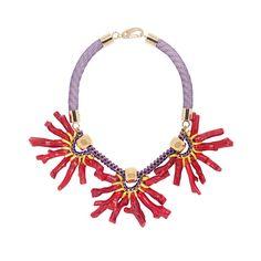 Natural Red Coral Statement Bib Necklace.Purple Necklace.Yayoi Kusama art inspired.Oversized Bold Necklace.Doll