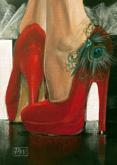 Contemporary paintings by artist Jacqui Faye specializing in figurative works in acrylics on canvas. Best known for her Red Shoe Dailies and Red Shoe art series. Silhouette Mode, Shoe Art, Painted Shoes, Shades Of Red, Red Shoes, Lady In Red, Fashion Art, Illustration Art, Pretty