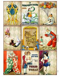 CIRCUS SIDESHOW Digital Collage Sheet Instant Download for Paper Crafts Cards Decoupage Original Whimsical Altered Art by Gallery Cat CS99
