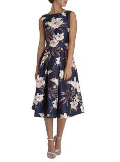 5a916fbc1981e Chi Chi London Navy Floral Print Midi Dress - Dresses - Clothing