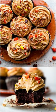 Rich, moist, and super dark chocolate cupcakes topped with creamy peanut butter frosting and Reese's Pieces! Recipe on sallysbakingaddic… Köstliche Desserts, Delicious Desserts, Yummy Food, Cupcake Recipes, Cupcake Cakes, Dessert Recipes, Recipes Dinner, Dinner Ideas, Dark Chocolate Cupcakes