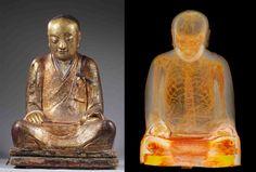 Hallan esqueleto humano de más de mil años dentro de estatua de buda