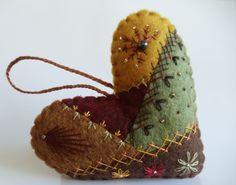 Crazy Quilt Felt Heart Ornament