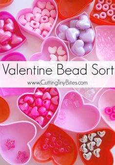 Valentines Day Bead Sort. Fun and easy fine motor activity for toddlers and preschoolers that will also help to develop important early math skills.