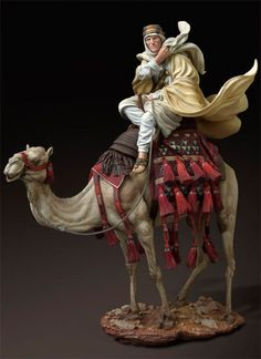 Lawrence of Arabia on a camel, 1917. Scale model.
