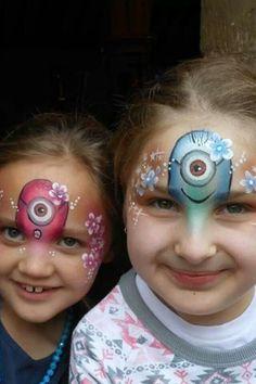 Minnions face paint girls half face flowers