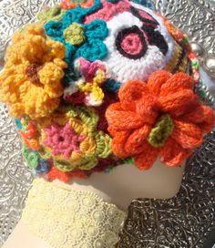 Day of the Dead Dia de los Muertos Wool Knit Kool-Aid Dyed Freehand Crochet Cloche Hat Skull Flowers OOAK Made to Order. $175.00, via Etsy.
