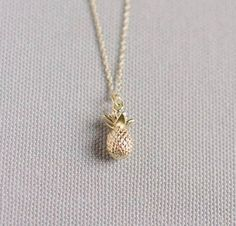 Pineapple Necklace  Gold Pineapple Necklace  Gold Plated