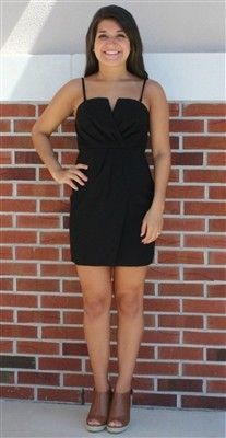 Black Ruched Dress with Small V #USTrendy www.ustrendy.com