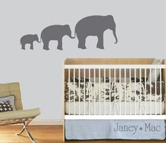 Kids Wall Decal Elephants - Safari Jungle Children's Bedroom Nursery - Vinyl Wall Art Room Decor - CA108B