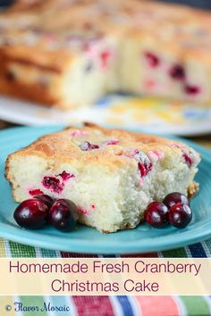 Homemade Fresh Cranberry Christmas Cake is a light fluffy white cake with orange juice and orange zest and fresh cranberries. Perfect for Christmas.