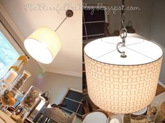 DIY Hanging {Drum} Light Fixture, the adapter for turning a drum shade into a pendant is available at Lowes--